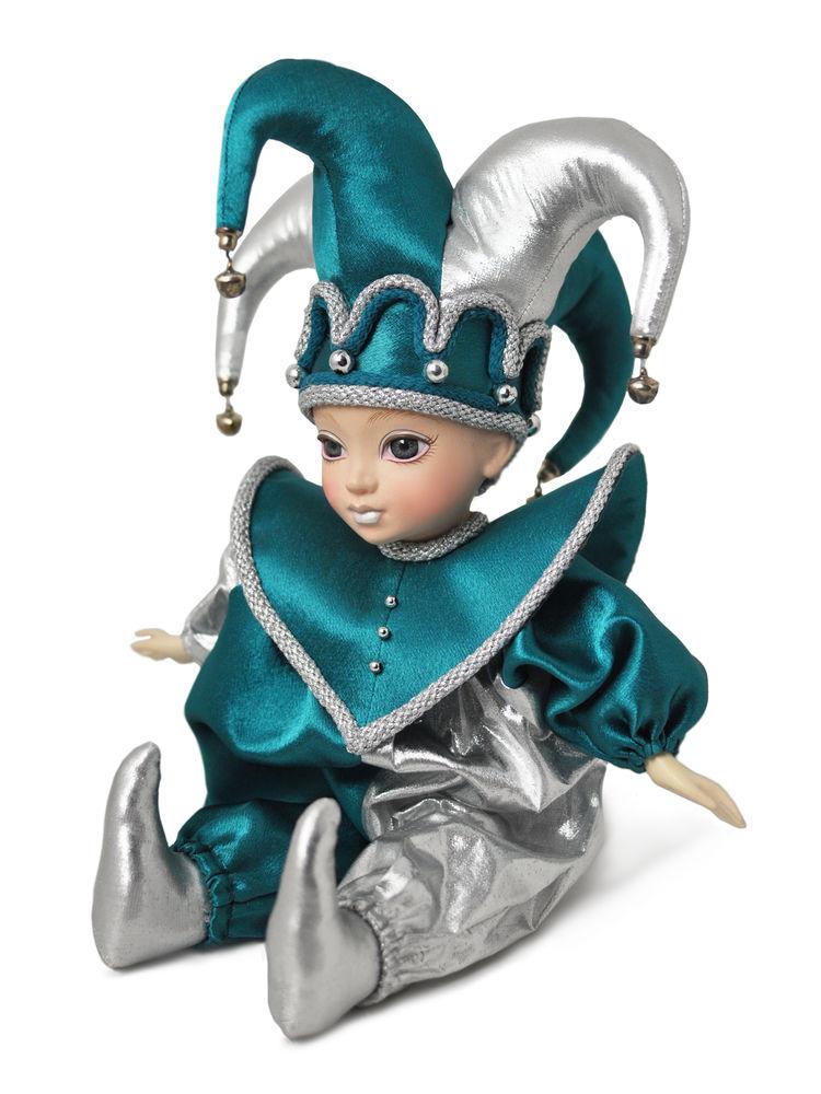 арлекин, фарфоровая кукла, подарок, ручная работа, сувенир, зеленый, серебро