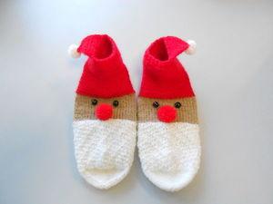"""Носочки новогодние детские """"Дед Мороз"""". Ярмарка Мастеров - ручная работа, handmade."""