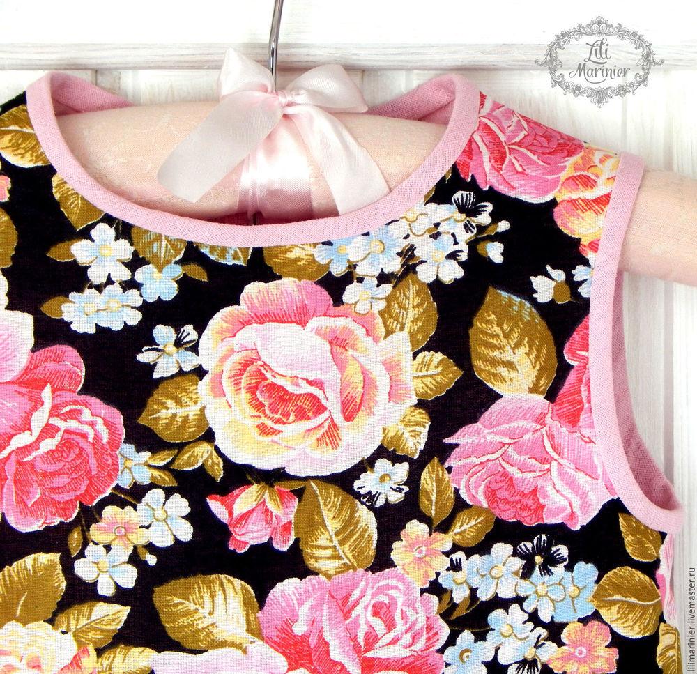 платье, девочка, хлопок, розы, весна, принцесса флора