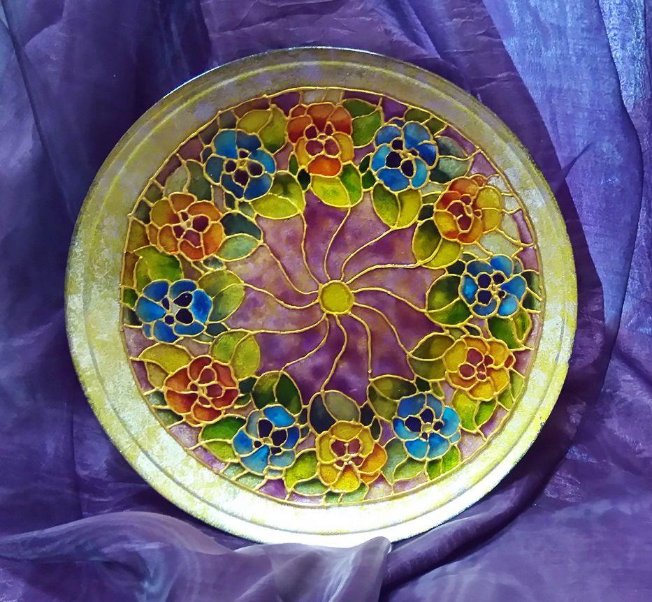 мастер класс, тарелка, hand-made5, витражная роспись