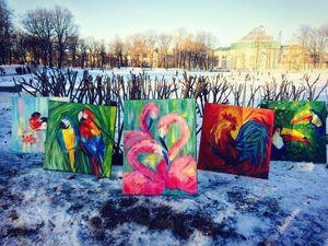 Птицы в городе! Инсталляция с участием картин | Ярмарка Мастеров - ручная работа, handmade