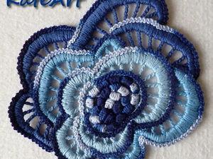 Вяжем синюю розу для ирландского кружева. Ярмарка Мастеров - ручная работа, handmade.