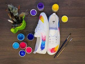 Изучаем тонкости росписи кед акриловыми красками по ткани. Ярмарка Мастеров - ручная работа, handmade.