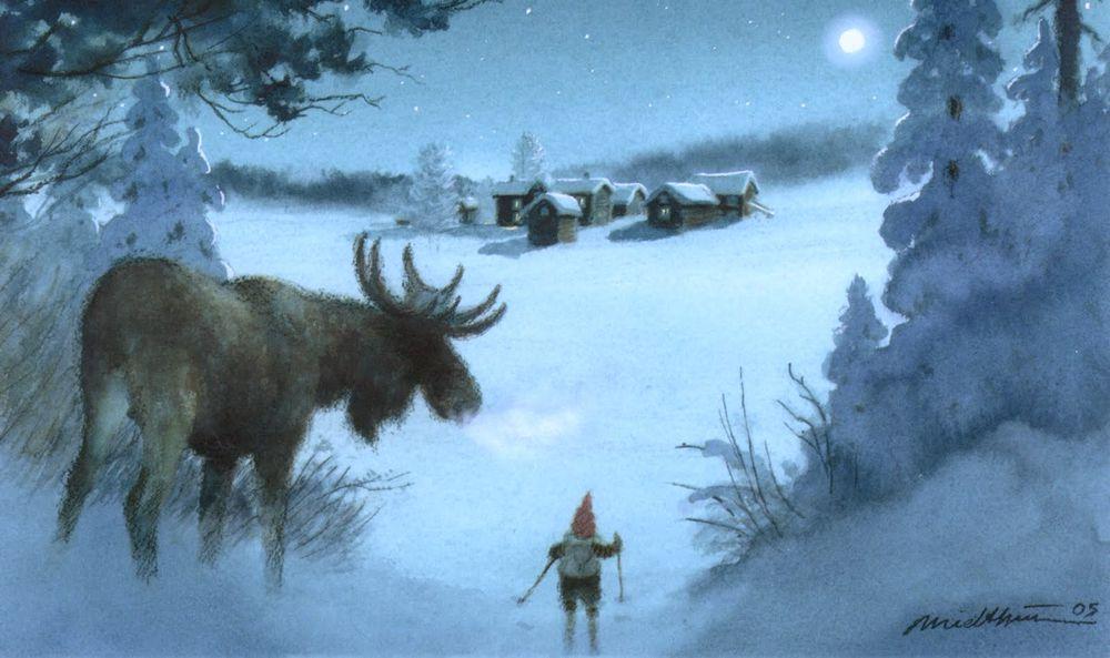 сказка, гномик, гном, лесная сказка, снег, колпак, узоры, узор, вязание