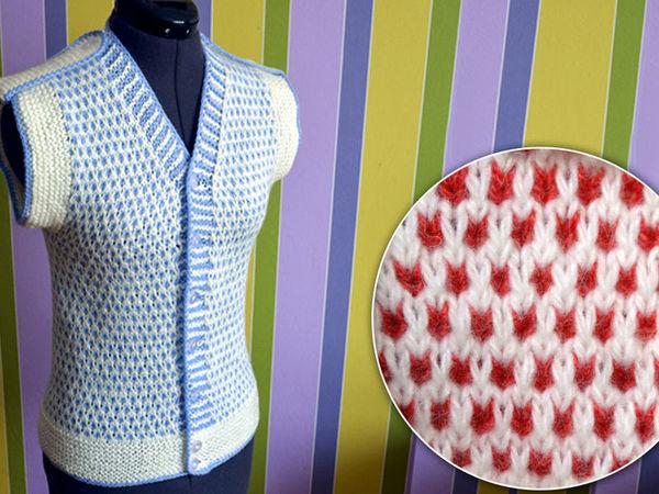 Вяжем простой двухцветный узор спицами. Вязание спицами для начинающих | Ярмарка Мастеров - ручная работа, handmade