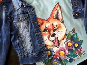 "Аукцион на Футболочку с Лисичкой ""Fox in Flowers"" размер М. Ярмарка Мастеров - ручная работа, handmade."