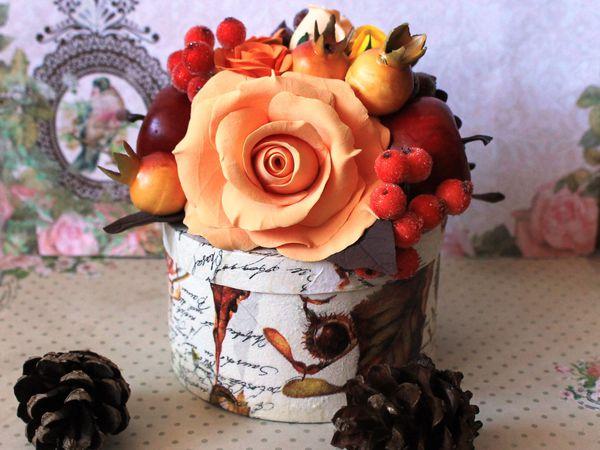 Шкатулка с букетом цветов из полимерной глины в осенних тонах | Ярмарка Мастеров - ручная работа, handmade