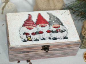 Большая шкатулка для хранения чая, сладостей, кофе, орехов Три веселых гнома. Ярмарка Мастеров - ручная работа, handmade.