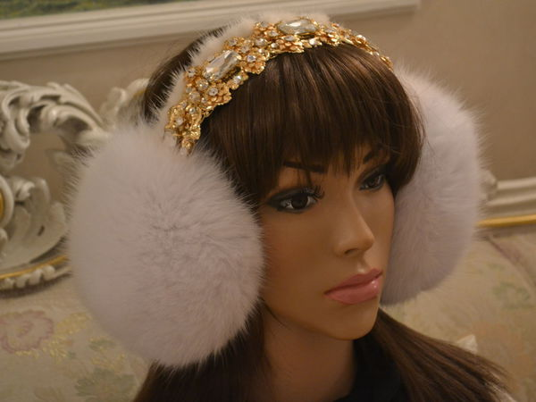 Наушники White Diamonds And Fur   Ярмарка Мастеров - ручная работа, handmade