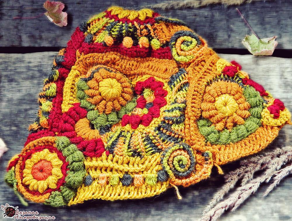 земля пускай вязание в стиле фриформ описание фото панно