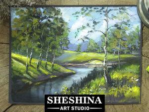 Видеоурок: рисуем русский пейзаж с березами сухой пастелью. Ярмарка Мастеров - ручная работа, handmade.