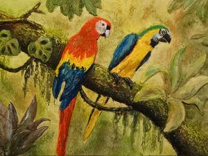 Видео мастер-класс: создаем на гипсокартоне красочный барельеф «Попугаи ара». Ярмарка Мастеров - ручная работа, handmade.