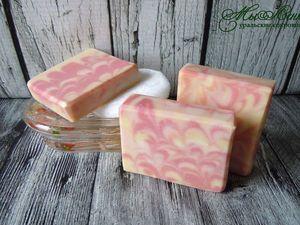 Малина и персик натуральное мыло с нуля. Ярмарка Мастеров - ручная работа, handmade.