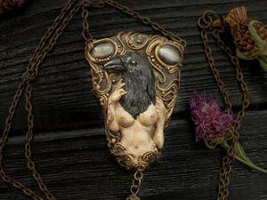 Новинка!!! Crow.  Кулон из полимерной глины.  Кулон с камнями. Ярмарка Мастеров - ручная работа, handmade.