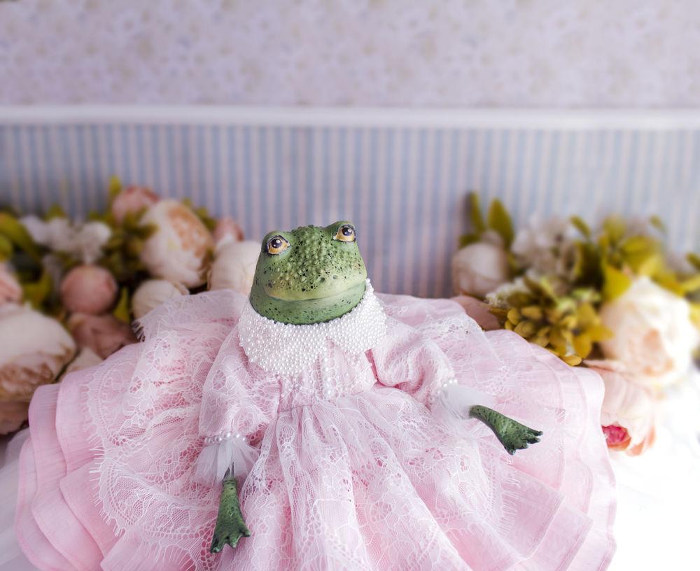 купить авторская кукла, кукла жаба лягушка