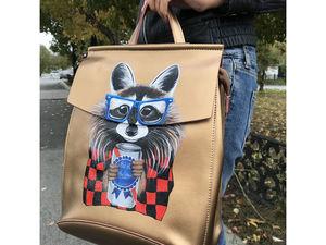 Хит осени - золотой рюкзак с ручной росписью. Ярмарка Мастеров - ручная работа, handmade.