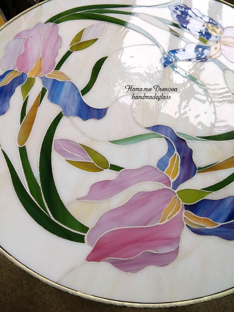 фьюзинг, ковка и стекло, столик для сада, журнальный столик купить, столик с мозаикой, кованая мебель