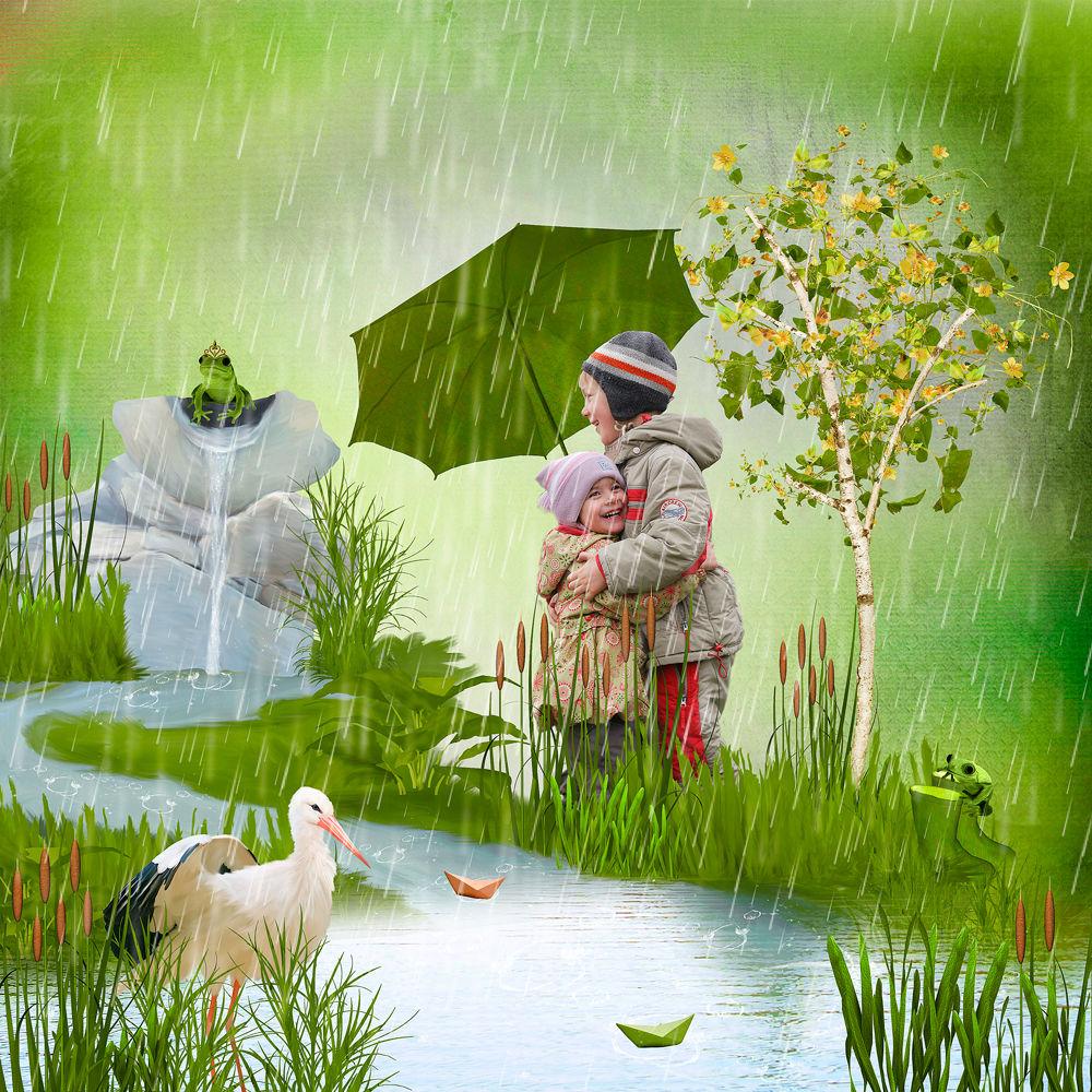 фотоколлаж, портрет, фотопортрет, дождь, весна, весенний портрет, детский портрет, хобби, фотошоп