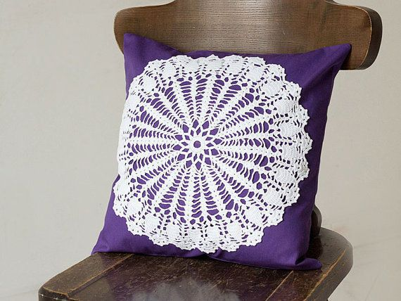 Purple and white Pillow Cover With Crocheted Doily Applique OOAK decorative accent pillow