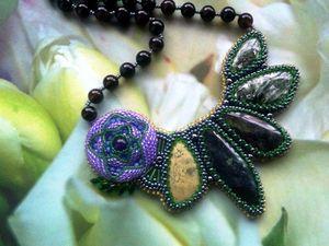 """Аукцион на шикарное вышитое бисером колье """"Таинственный цветок"""" с натуральными камнями — закрыт. Ярмарка Мастеров - ручная работа, handmade."""