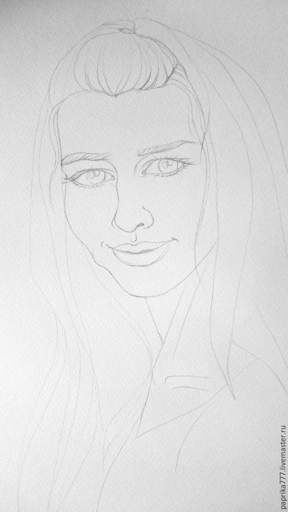 портрет, акварель
