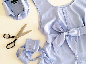 Лайфхак: летняя женская блузка с поясом из мужской рубашки. Ярмарка Мастеров - ручная работа, handmade.