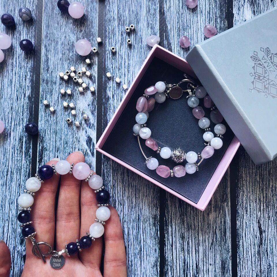 anna zima, anna zima jewelry, браслеты, браслет из камней, натуральные камни, энергия камней, браслет на заказ, украшение с камнем, из питера с любовью, санкт-петербург, аметист, розовый кварц, лунный, лунный камень, любовь, гармония, счастье