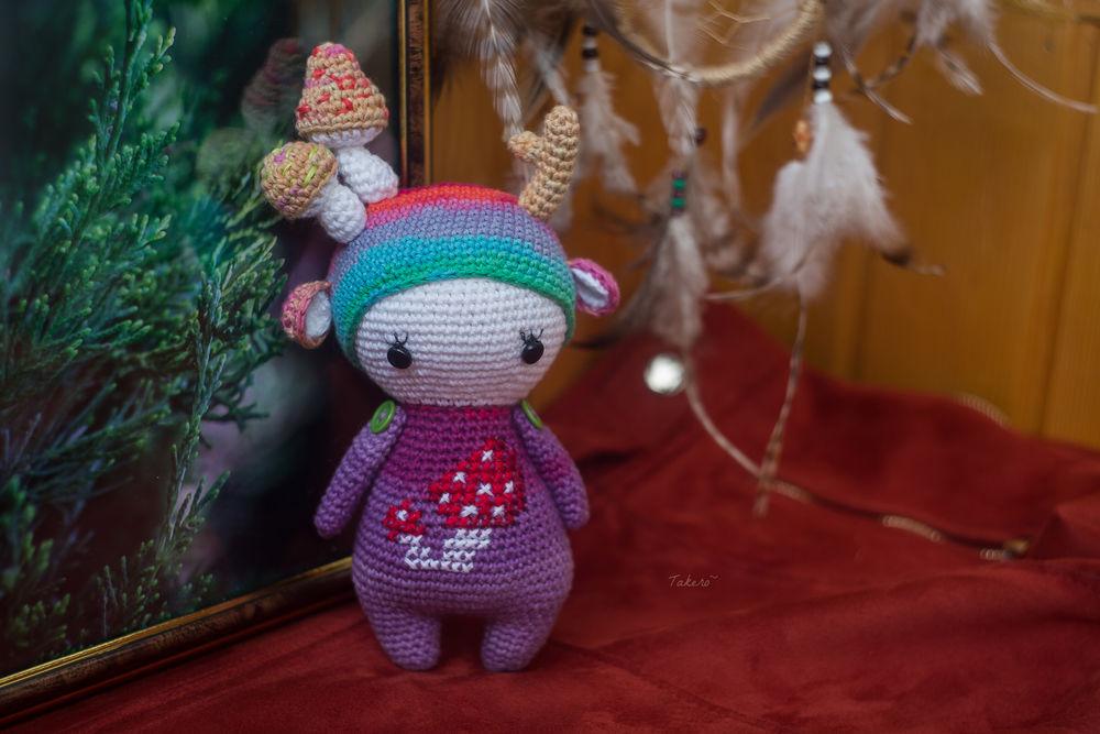 вязание, вязаная игрушка, дружба, фиолетовый, лесной дух