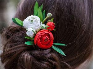 Сборка композиции на гребень для волос «Азиатский лютик». Ярмарка Мастеров - ручная работа, handmade.