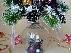 Создаём красивую новогоднюю композицию на перевернутом бокале | Ярмарка Мастеров - ручная работа, handmade