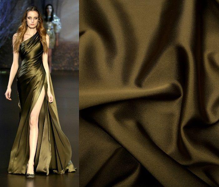 темно-оливковый цвет, вечернее платье, ткани из италии