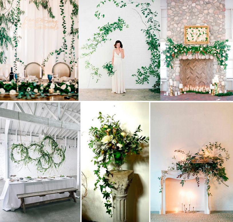 зелень на свадьбе, декор фотозоны