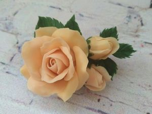 How to Make a Rose Brooch of Cold Porcelain. Livemaster - handmade