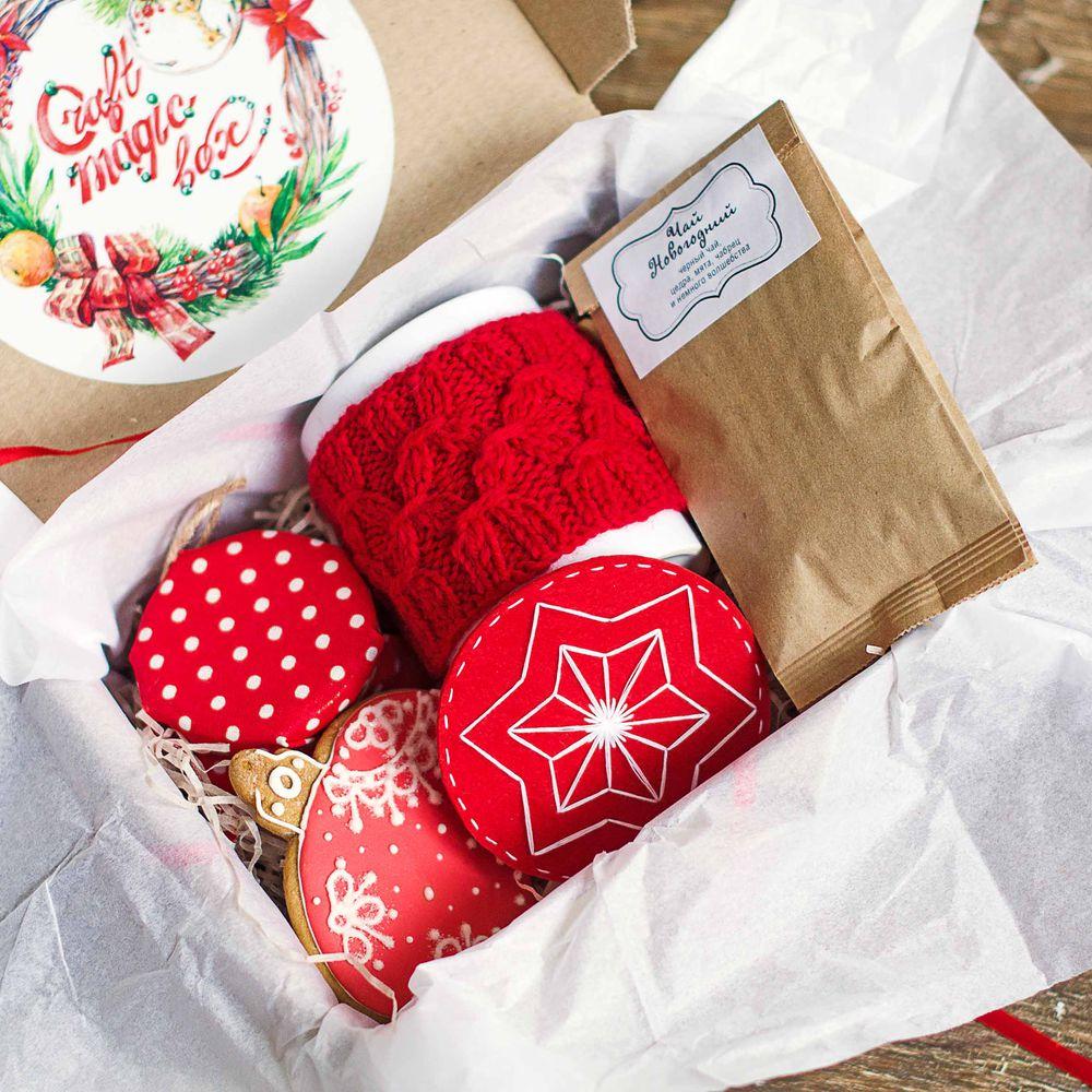 подарок для женщины, красный, пряники расписные