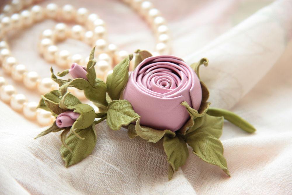мастер-класс, авторская работа, елена бадреева, цветок из кожи, брошь роза