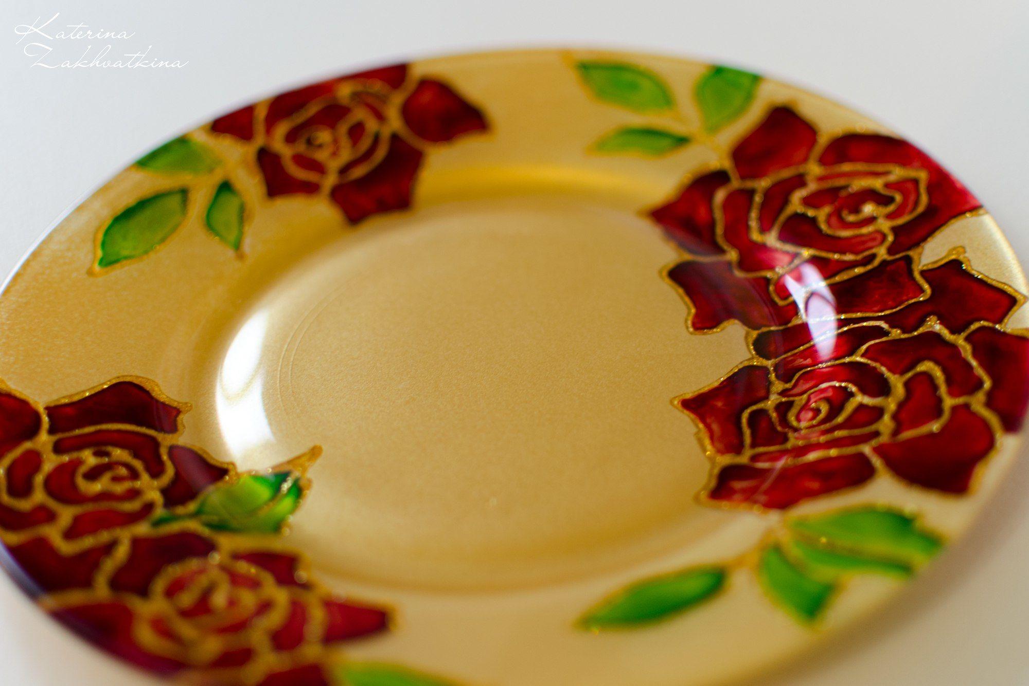 Витражная роспись для интерьерной стеклянной тарелки, фото № 1
