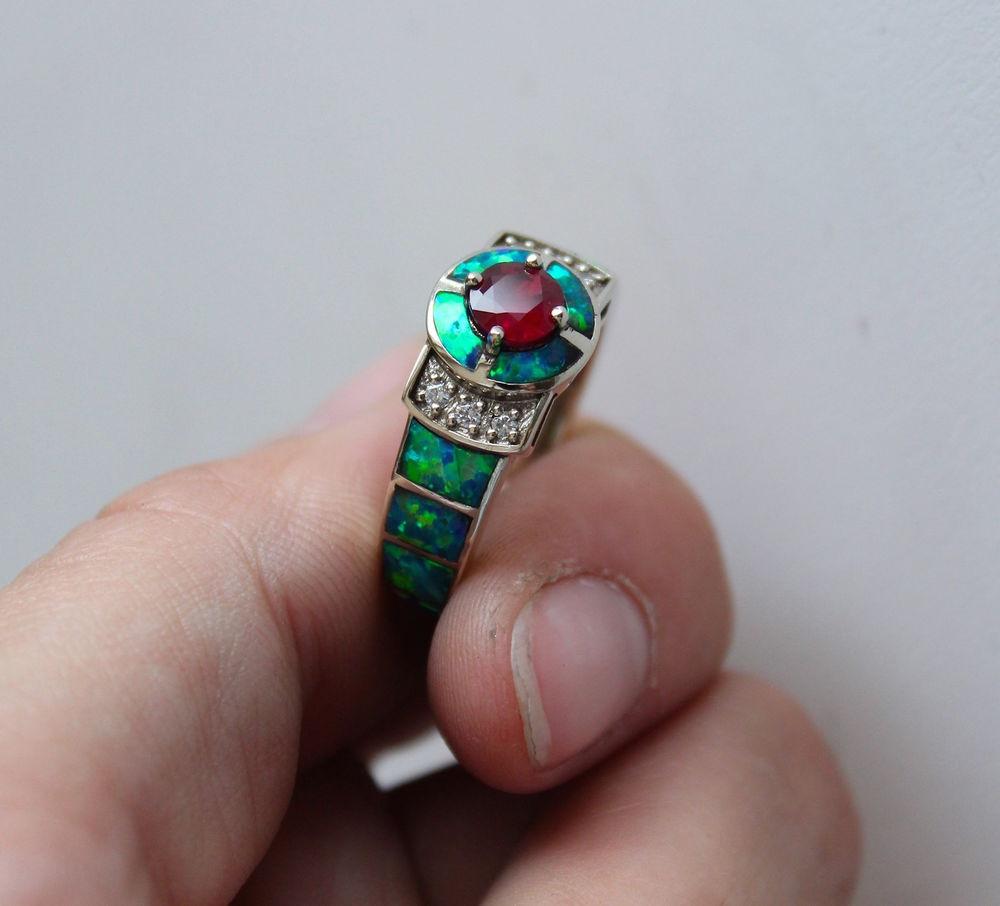 опал кабошон, кольцо с бриллиантами