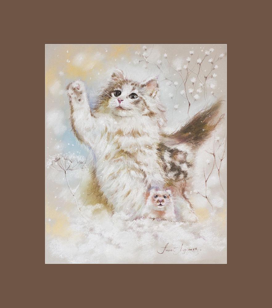 картина пастелью, коты, кот картина