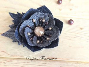 Создаем джинсовую брошь — цветок с кристаллом Сваровски. Ярмарка Мастеров - ручная работа, handmade.