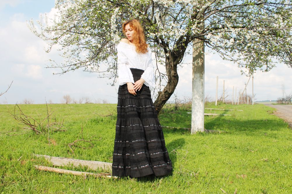 бохо юбка, нарядная юбка