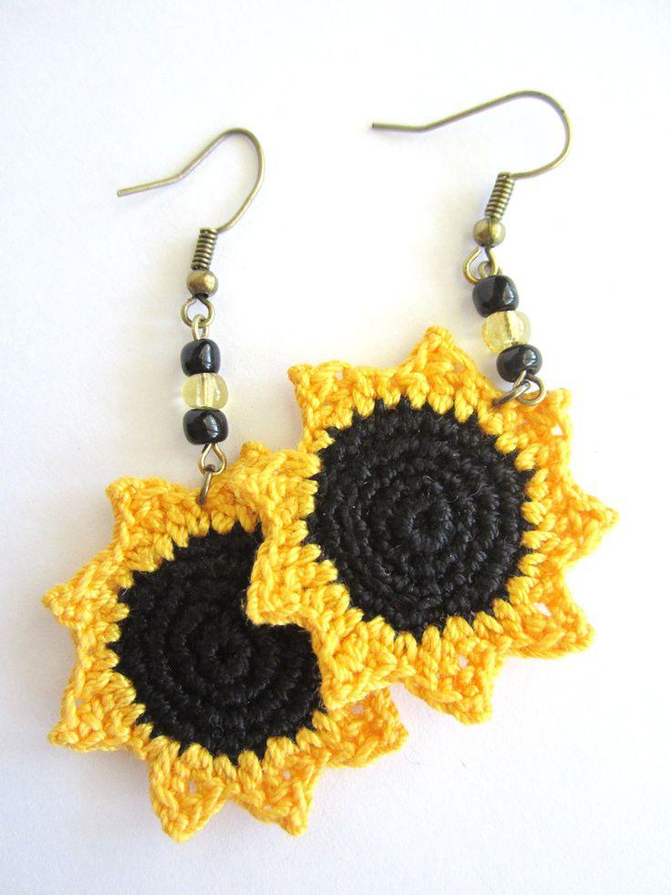 Sunflower Crocheted Earrings. $15.00, via Etsy.