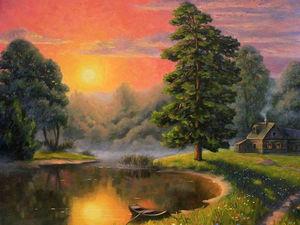 "Новая работа! Картина ""Туман над рекой"". Ярмарка Мастеров - ручная работа, handmade."