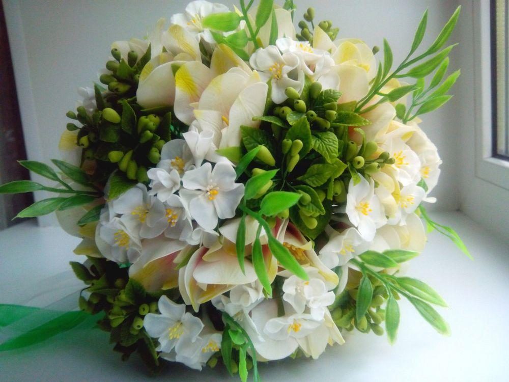 свадебный букет, цветы из холодного
