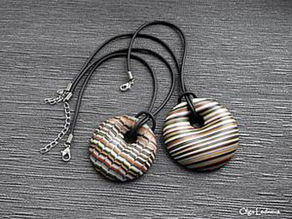 Recycling Polymer Clay Scraps: How to Make a Striped Pendant | Livemaster - handmade
