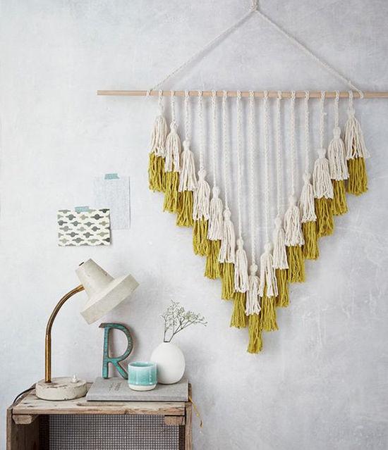 Простые идеи для дома: стильные панно из пряжи, фото № 21