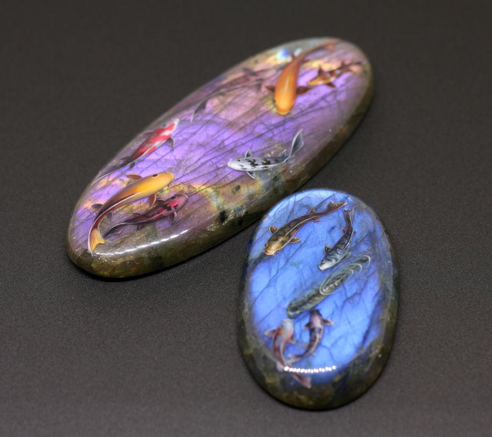 ирина руднева, стильные украшения, лабрадорит, кабошоны для украшений, фиолетовый, миниатюра
