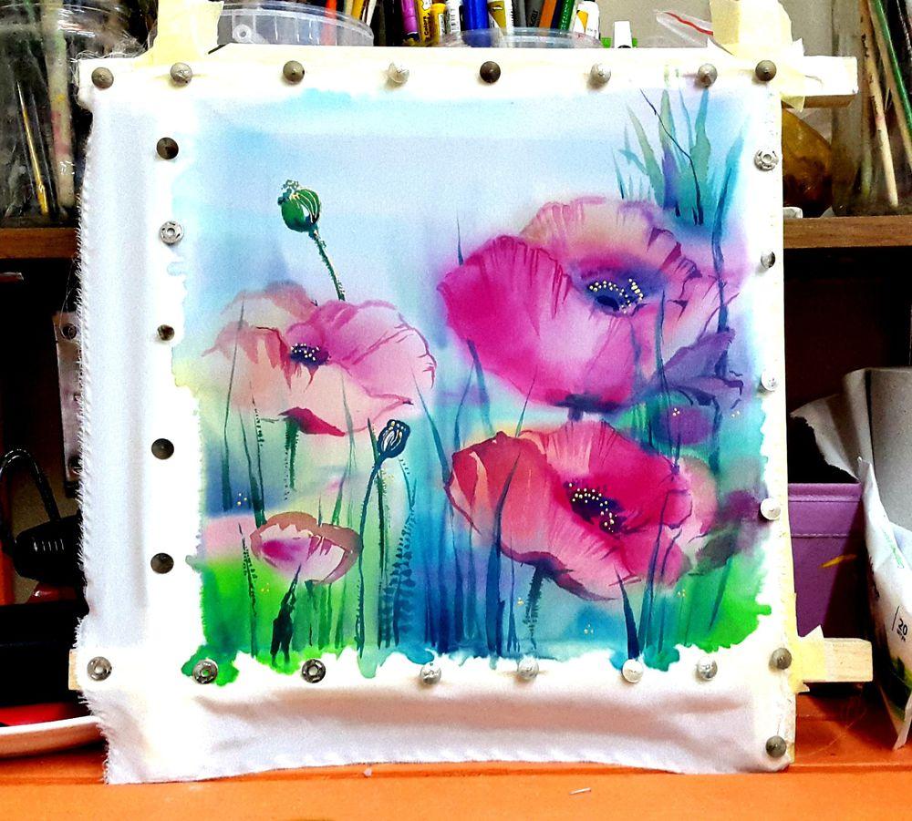 роспись по ткани, открытка, мастер-класс по цветам