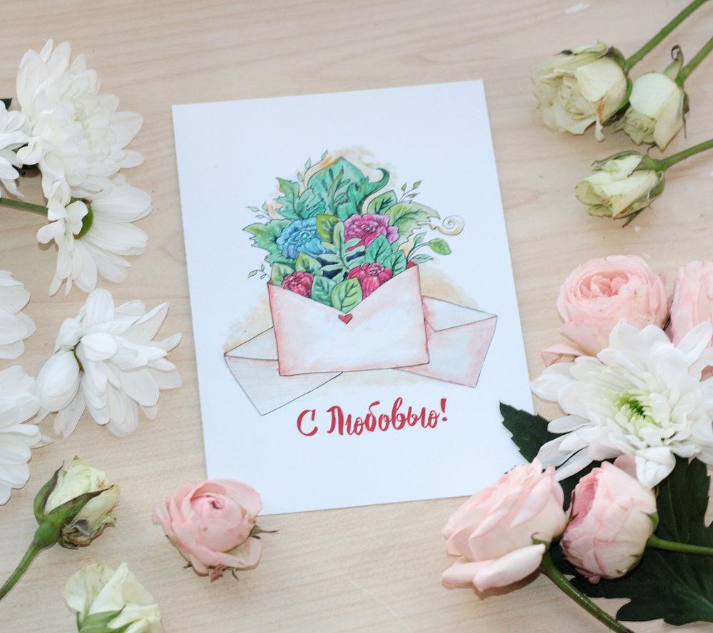 розыгрыш, приз, почтовая, postcrossing, рисунок, цветы, кит