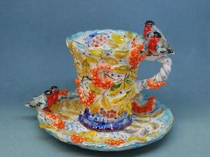 Чайная пара со снегирями снова в наличии!. Ярмарка Мастеров - ручная работа, handmade.