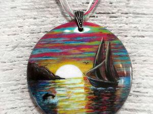 Новая работа: Кулон с росписью Тихая гавань. Ярмарка Мастеров - ручная работа, handmade.